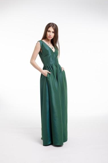 Rochie lunga Couture de Marie din tafta verde