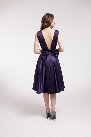 Rochie de cocktail Couture de Marie din tafta bleumarin