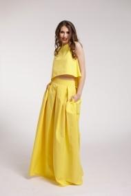 Rochie de seara Couture de Marie maxi 2 piese din tafta galbenaa