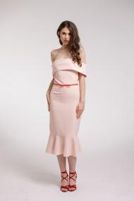 Rochie de cocktail Couture de Marie midi roz cu volane