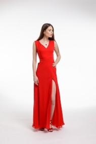 Rochie de seara Couture de Marie rosie din voal cu slit frontal
