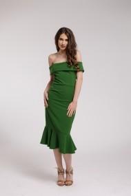 Rochie de cocktail Couture de Marie midi verde cu volane