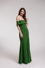 Rochie lunga Couture de Marie verde cu volan supradimensionat