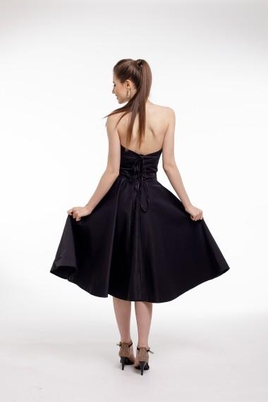 Rochie de cocktail Couture de Marie midi din tafta neagra si corset cu aplicatii din dantela