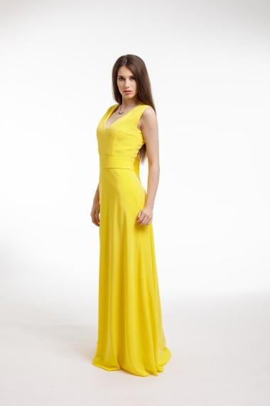 Rochie de seara Couture de Marie galbenaa din voal cu slit frontal
