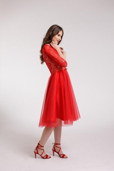 Rochie de cocktail Couture de Marie din tulle si bust din dantela rosie