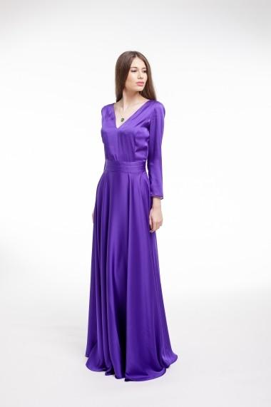 Rochie de seara Couture de Marie violet matase vegetala