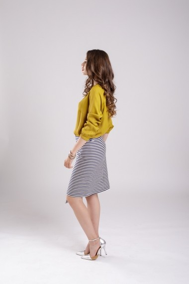 Fusta Couture de Marie asimetrica Striped Skirt