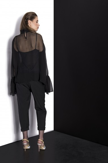 Pantaloni Couture de Marie negru din lana tip boyfriend