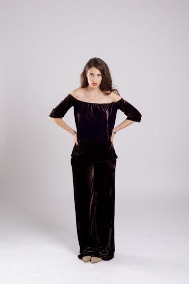 Pantaloni Couture de Marie largi din catifea maro