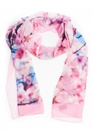 Esarfa Accesorii by ID 180x45 PINK FLOWER WITH A TOUCH OF BLUE SKY