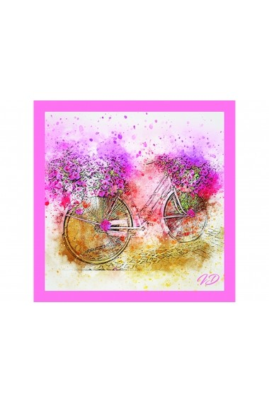 Esarfa Accesorii by ID 90X90 PINK FLOWER ON BICYCLE Roz