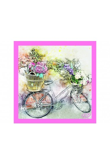 Esarfa Accesorii by ID 90X90 FLOWERS & BICYCLE