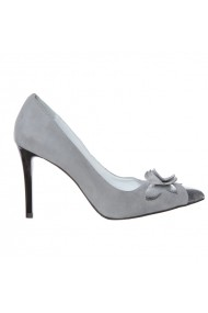 Pantofi cu toc Luisa Fiore IRISA, piele naturala, alb/argintiu