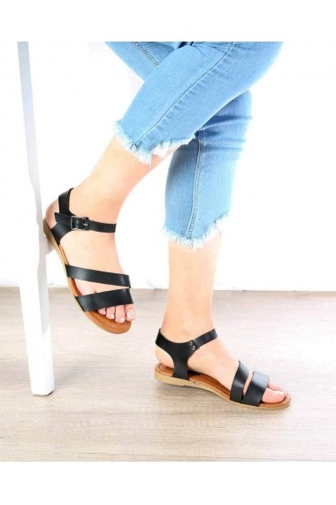 Sandale plate Boho Passion 8697454158825 Negru - els