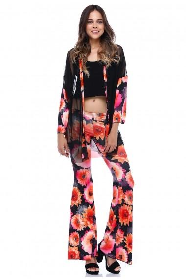Pantaloni largi DONNA ROSSA DP3017 Floral
