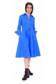 Rochie midi Maruca tip camasa din bumbac albastru