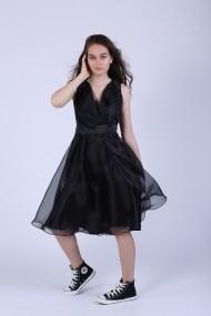 Rochie Maruca W10582 cu pliuri din organza neagra