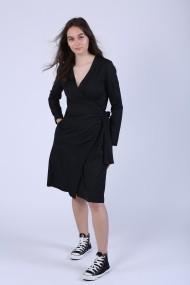 Rochie Maruca petrecuta evazata din stofa neagra