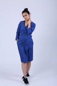 Rochie Maruca petrecuta, usor evazata, albastra