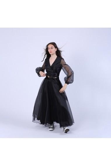 Bluza scurta Maruca W10574 petrecuta neagra