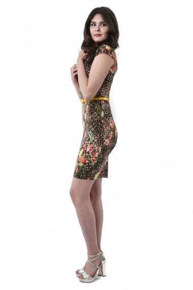 Rochie de zi scurta Lille Couture Larisa din tercot elastic floral