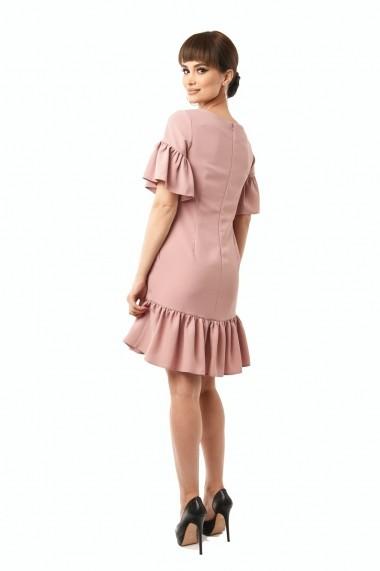 Rochie de zi scurta Lille Couture din stofa cu broderie Aurora Roz