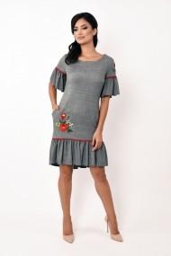 Rochie de zi scurta Lille Couture din stofa cu broderie Aurora Pepit