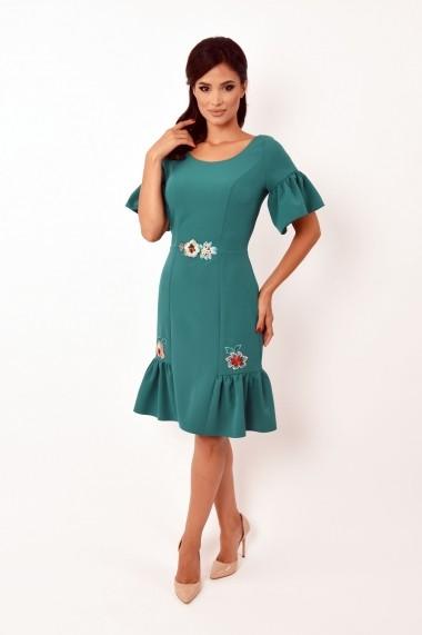 Rochie de zi scurta Lille Couture din stofa Sonia Turcoaz
