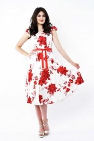 Rochie de zi midi Lille Couture din vascoza Roxy Print Trandafiri