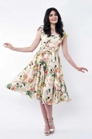 Rochie de zi midi Lille Couture din matase sintetica Roxy Print Floral
