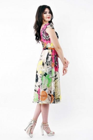 Rochie de zi midi Lille Couture din voal floral Roxy Bej Floral