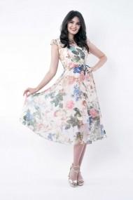 Rochie de zi midi Lille Couture din voal floral Roxy Bej-Auriu Floral