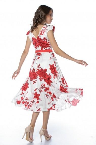 Rochie de zi midi Lille Couture Roxy print trandafiri Alba