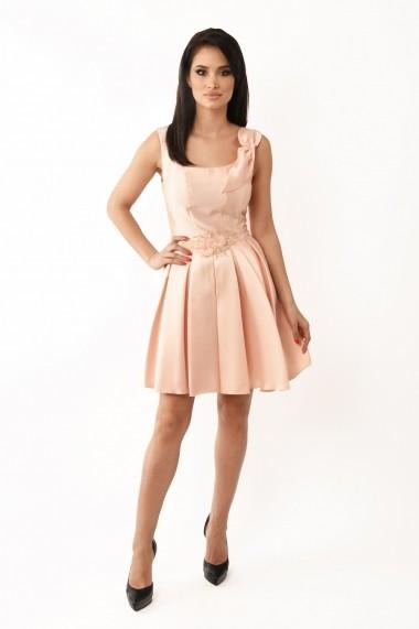 Rochie midi Lille Couture din tafta Ioana roz pal