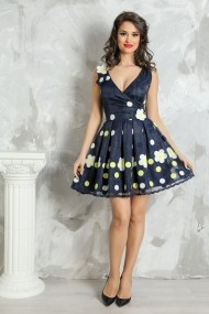 Rochie midi Lille Couture din organza Livia bleumarin cu aplicatii florale