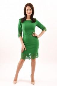 Rochie de zi midi din stofa Lille Couture Lavinia verde deschis
