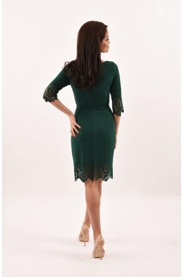 Rochie de zi din stofa Lille Couture Lavinia verde inchis