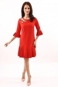 Rochie de zi midi din stofa cu pliuri Lille Couture Izabela rosu