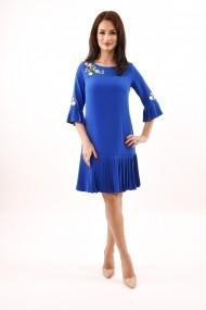 Rochie de zi midi din stofa cu pliuri Lille Couture Izabela albastru