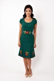 Rochie de zi midi din stofa cu broderie Lille Couture Adriana verde inchis
