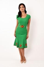 Rochie de zi midi din stofa cu broderie Lille Couture Adriana verde deschis