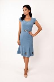 Rochie de zi midi din stofa cu broderie Lille Couture Adriana bleu
