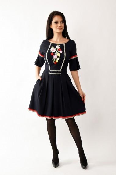 Rochie de zi midi din stofa Lille Couture Riana bleumarin
