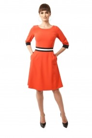 Rochie de zi midi din stofa cu buzunare Lille Couture Doris corai