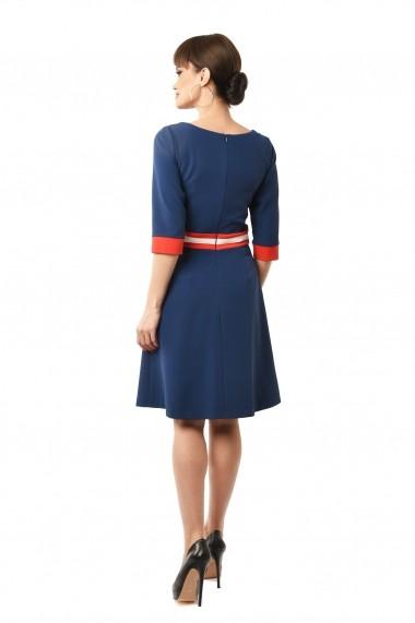 Rochie de zi midi din stofa cu buzunare Lille Couture Doris bleumarin