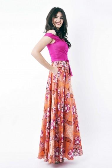 Rochie de zi lunga Lille Couture din tafta si matase sintetica Magda Multicolora