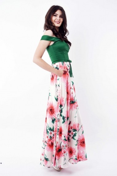 Rochie de zi lunga Lille Couture din tafta si matase sintetica Magda Multicolora Model Floral
