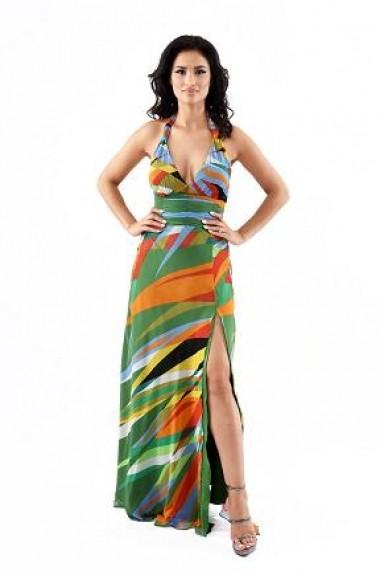 Rochie lunga de zi din voal Lille Couture Aurelia print