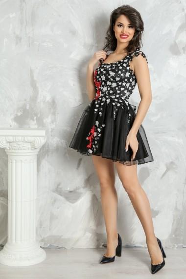 Rochie scurta de seara Lille Couture din dantela si tull Corina, neagra